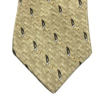 "Bill Blass Black Label Men's Tie, 100% Silk Gold Feather Print, 4"" X 59""... - $8.96"