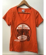 SF Giants MLB 2014 World Series Champions Womens Orange T shirt V Neck T... - $14.95