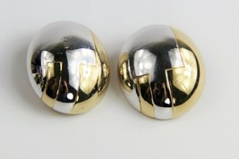 ESTATE VINTAGE Jewelry CINER TWO TONE ART DECO STYLE MODERNIST CLIP EARR... - $25.00