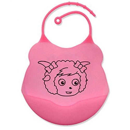 2 Pcs Comfortable and Durable Cartoon Silicone Baby Bibs Pocket Meals/Pink