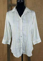 Chico's women M button down career 3/4 sleeve striped - $9.60