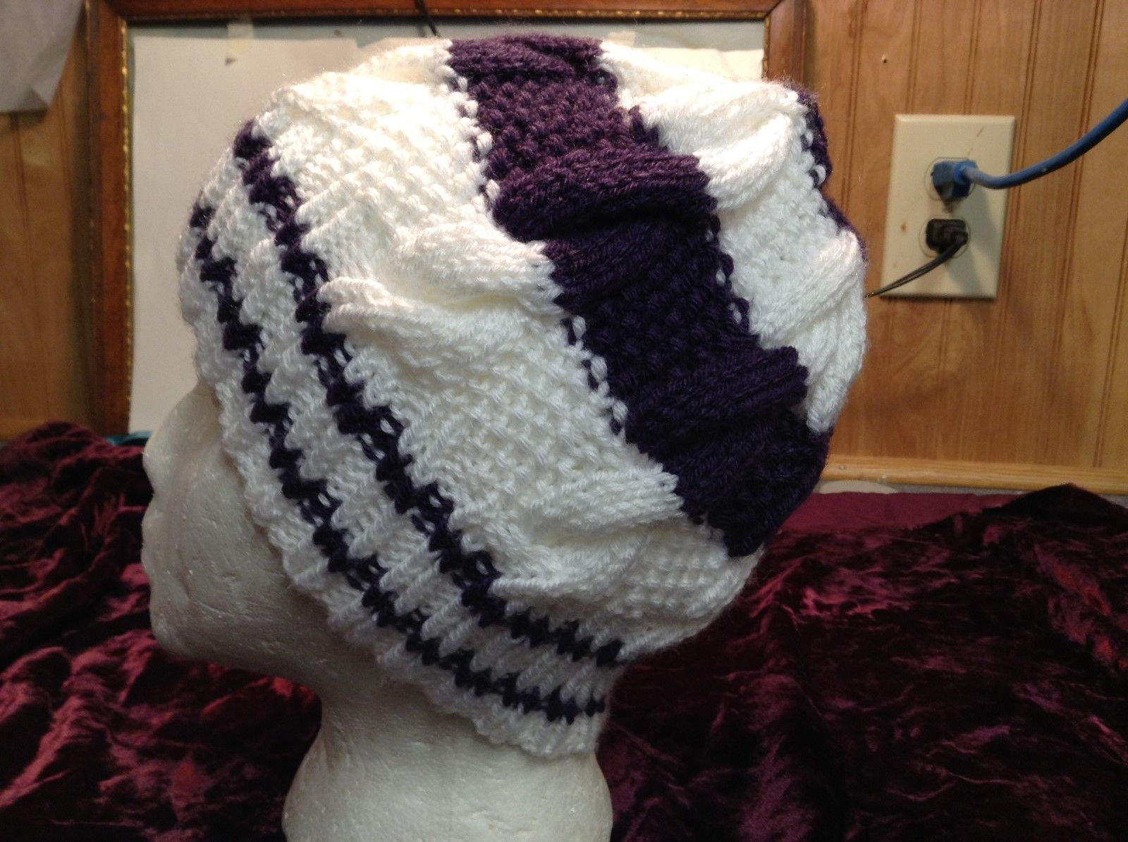 NEW Hand-knitted White w Purple Stripes Wool Beanie