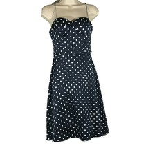 Forever 21 Small Dress Navy Blue White Polka Dot Satin Cocktail Beach Pa... - $9.74