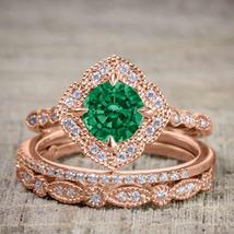 Green Emerald and Diamond Antique Wedding Trio Ring Set 14k Rose Gold FN... - $139.00