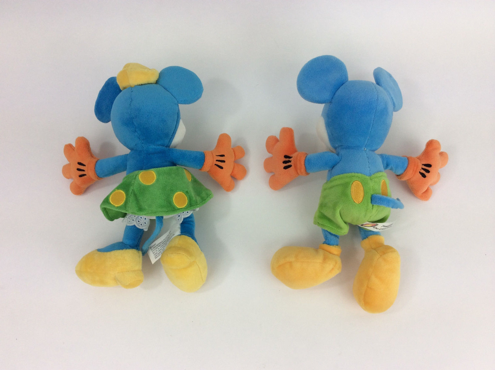 Disney World Mickey Minnie Mouse Neon Bright Colors Set Pair Plush Stuffed 10""