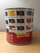 """Vintage 1970 Hills Bros """"Flags of the Fifty States"""" Coffee Can image 2"""