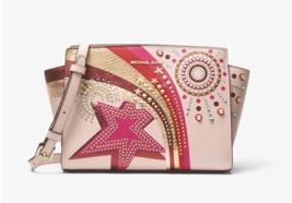 NWT Michael Kors Selma Embellished Leather Messenger Crossbody Bag, Soft... - $186.99