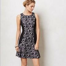 Anthropologie Maeve Sirena Flounce Dress M Black Purple Lace Panel Overl... - $18.70