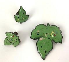 Vtg Copper Enamel Green Leaf Brooch Pin and Earring Set Screw Back Mod J... - $29.69