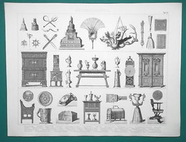 RENAISSANCE Utensils Furniture Lamps Chess Figure Watch etc - 1870s Supe... - $19.80