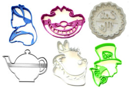 Alice In Wonderland Mad Hatter Cheshire Cat Set Of 6 Cookie Cutter 3D US... - $16.99