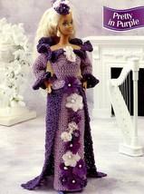 Pretty In Purple 2 Dresses for Barbie Doll Annie's Crochet PATTERN Leaflet - $2.94