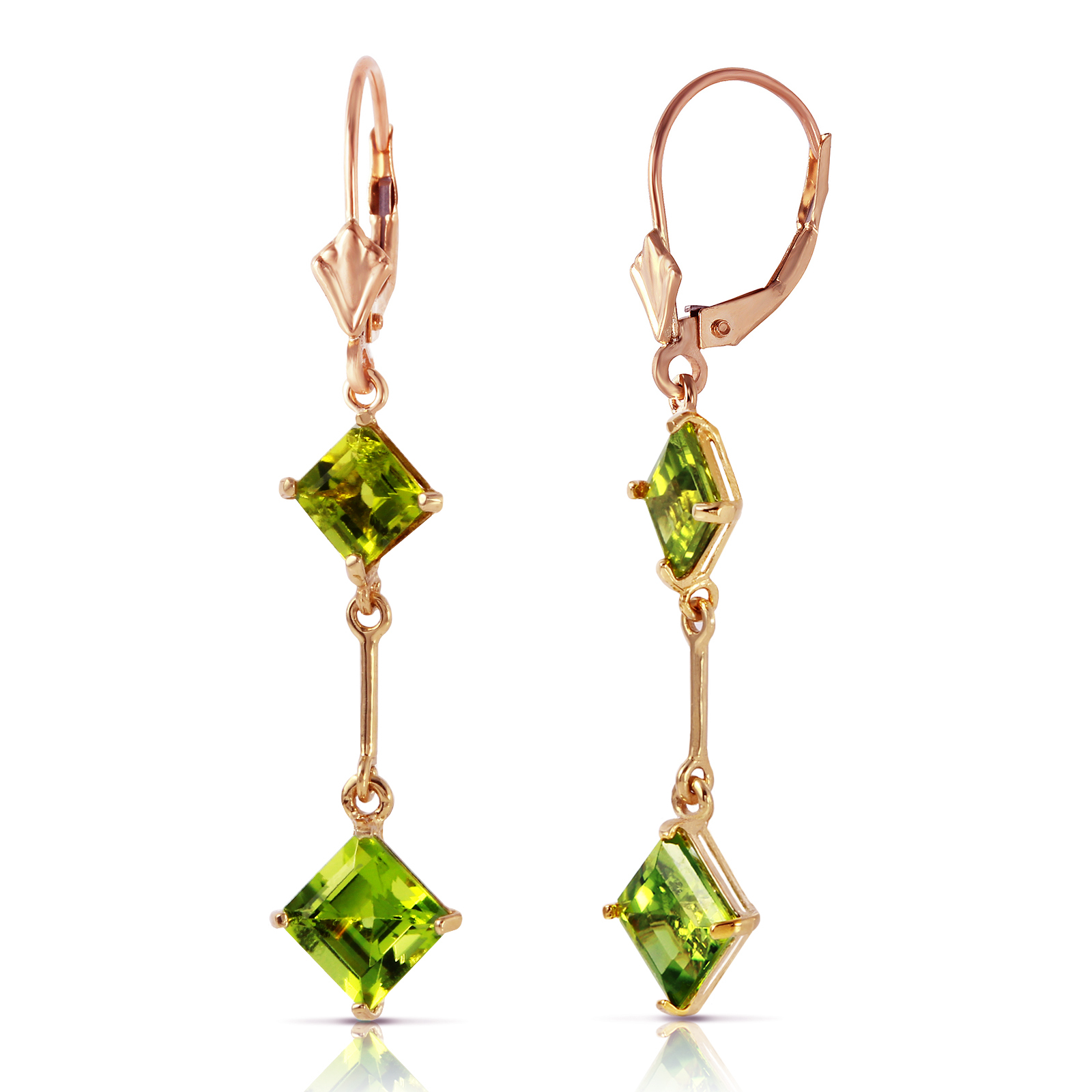 Primary image for 14K Solid Rose Gold Leverback Earrings with Peridots Bridal Gemstone Jewelry