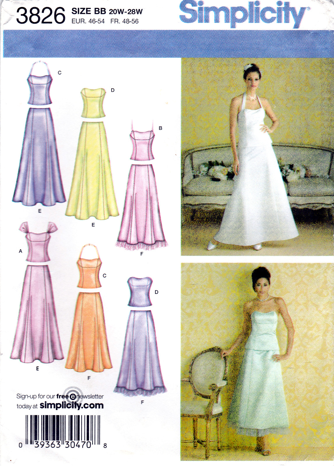 Simplicity 3826 Womens Sewing Pattern Formal Skirts with Tops Sizes 20W-28W