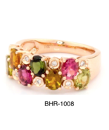 Multicolor Tourmaline Ring in 14 K Rose Gold RRP $2,525 - $747.00