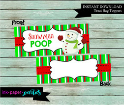 Christmas Holiday Snowman Poop Party Favors Favor Bag Treat Toppers  ~DI... - $2.00
