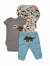 Carter 3 Piece Set for Boys Dino Triceratops Newborn 3 6 or 9 Months - $15.00