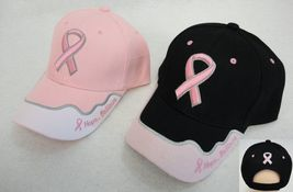 Hope Believe Breast Cancer Awareness Pink Ribbon Hat Ball Cap Pink Black... - £6.88 GBP+