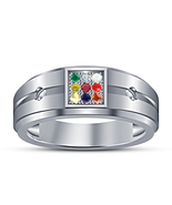 White Gold Plated Navratna Nine Multi-Color Stone 925 Sterling Silver Me... - $59.35