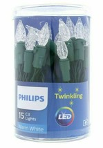 Philips 15ct Christmas LED C3 Battery Operated String Lights Pure White Twinkle image 1