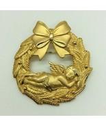 Jonelle Jewelry JJ Gold Tone Wreath Angel Brooch Pin Costume Jewelry - $14.84