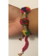 De La Suerte Hindú Multicolor Pom Pom Impresionante Piedras Pulsera Prot... - $12.54