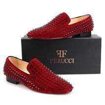 Men FERUCCI Burgundy Velvet Slippers Loafers Flat With Black Spikes Rivet - $199.99