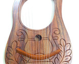 Engraved Lyre Harp Sheesham wood 10 Metal Strings Carrying Bag & Key/Harfe/Arpa