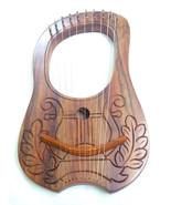 Engraved Lyre Harp Sheesham wood 10 Metal Strings Carrying Bag & Key/Har... - $48.47