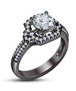 Engagement Wedding Ring Round Cut White CZ 14k Black Gold Plated Pure 92... - $86.99