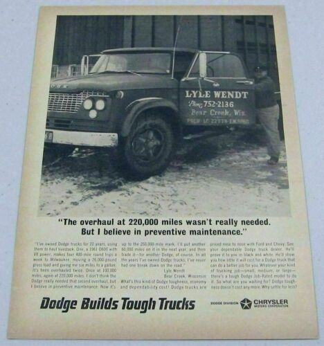 Primary image for 1966 Print Ad 1961 Dodge D600 Farm Truck 220,000 Mile Overhaul