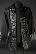 Men's Black Vegan Leather Steampunk Pirate Jacket Victorian Goth Coat - $98.27