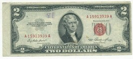 1953 $2 TWO DOLLAR UNITED STATES NOTE-ERROR-OFF CENTER-OFF CUT-SHIPS FREE! - $19.95