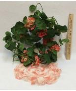 "Silk Fuchsia Geranium Floral Garland 70"" & Vtg Hand Crocheted Doily w/ Ruffle - $17.86"