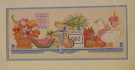 Country Shelf Sealed Stamped Cross Stitch Kit 16x7 Dimensions 1988 Linda Gillum  - $17.95