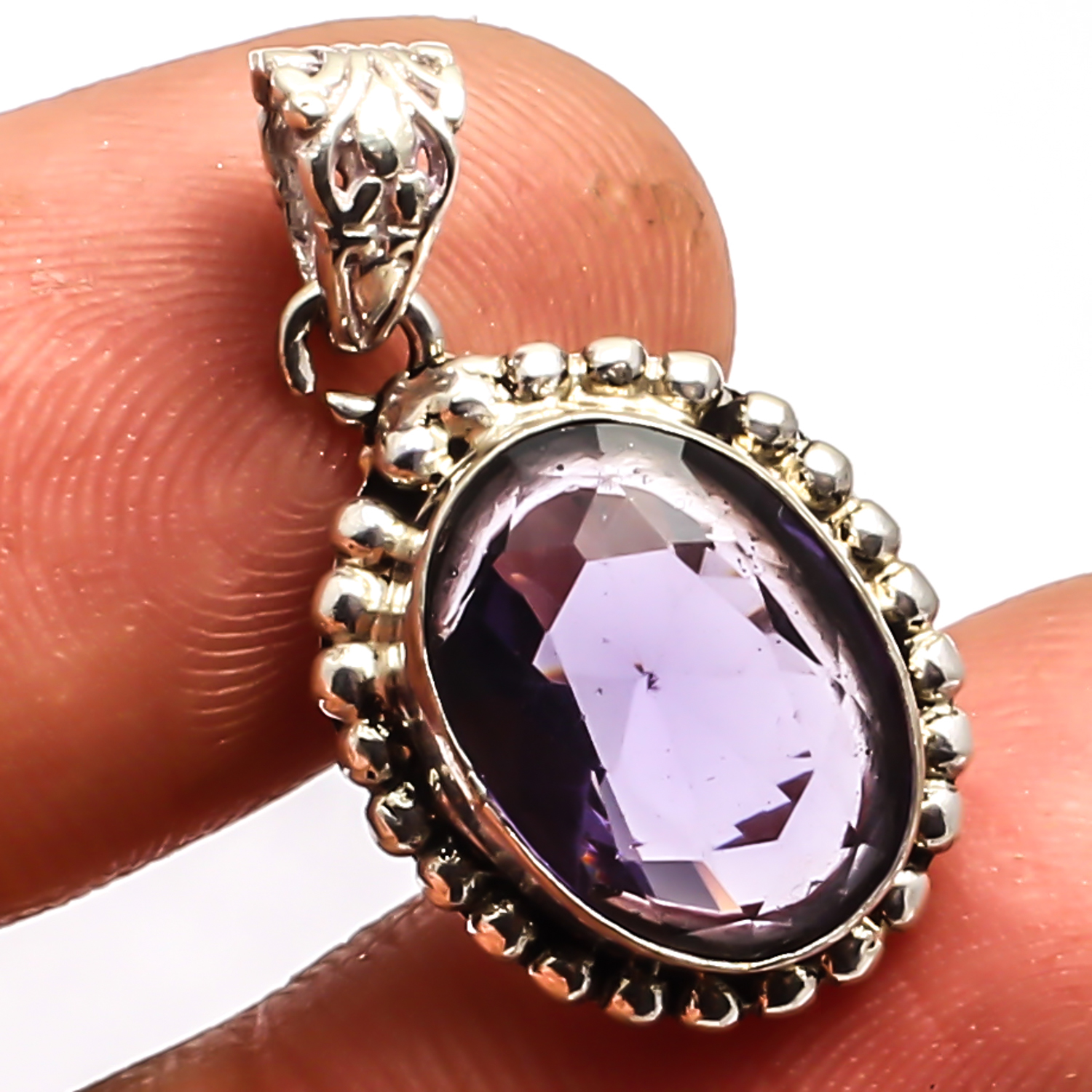 African Amethyst  925 Sterling Silver Overlay Pendant Fashion Jewelry Sz 1.01""