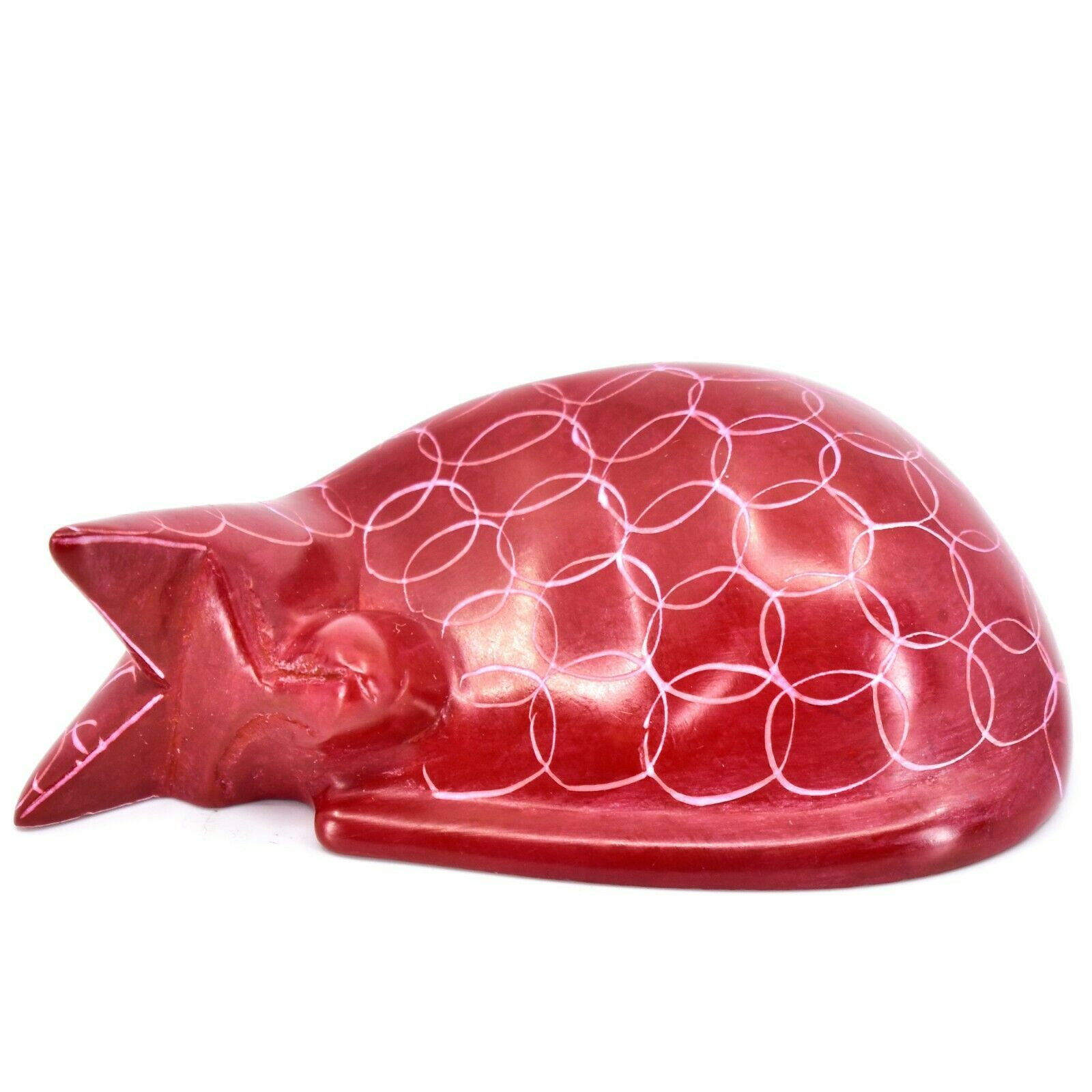 Tabaka Chigware Hand Carved Kisii Soapstone Red Sleeping Cat Figure