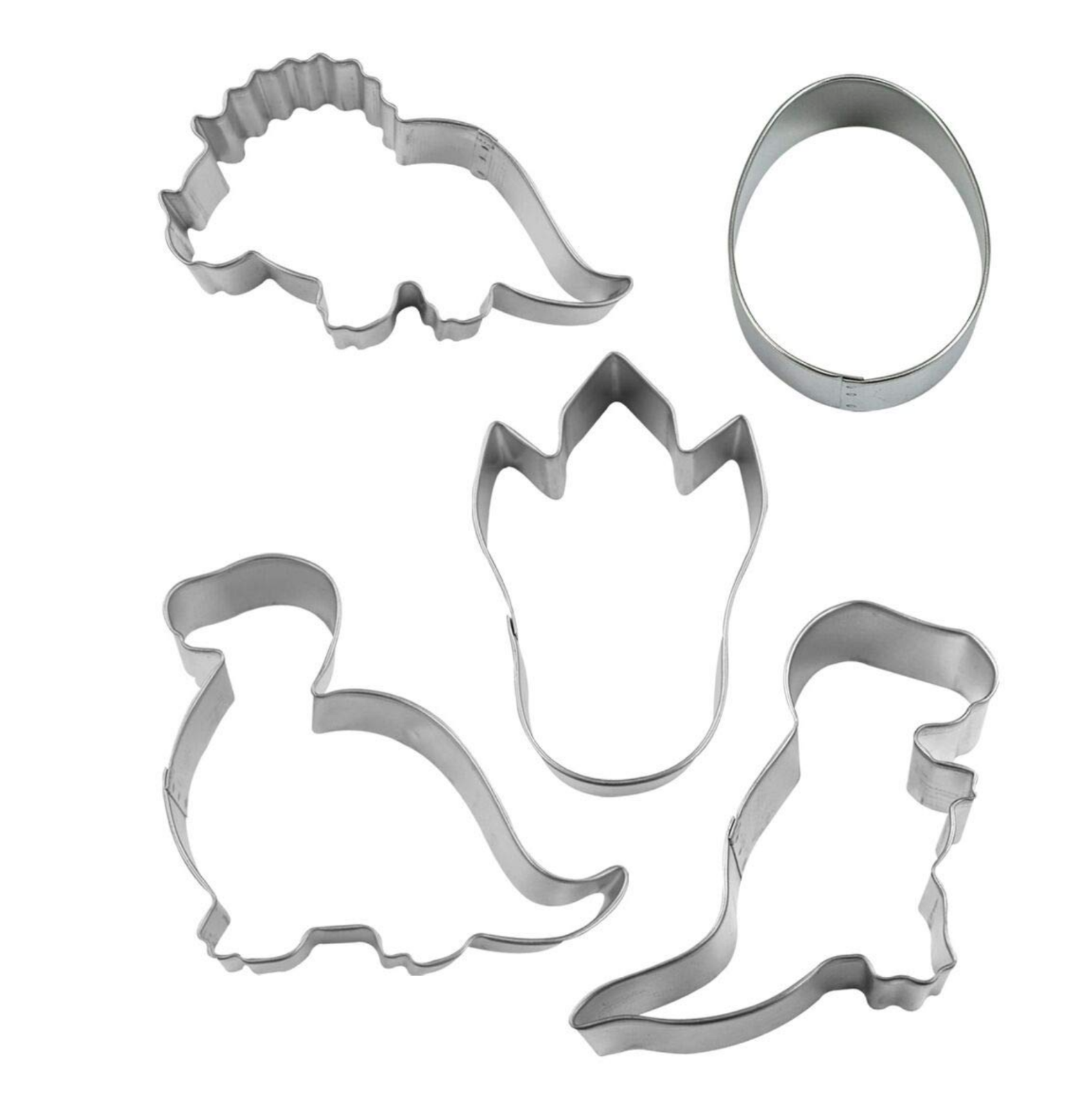 R & M International 5176 Dinosaur, 5 Pieces Cookie Cutter, Silver NEW in Box FS! image 2