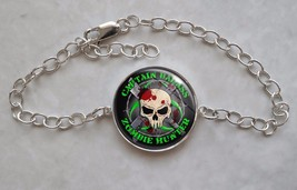 925 Sterling Silver Bracelet Zombie Hunter Custom Text undead monster ki... - $50.00
