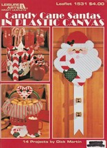 """Leisure Arts """"Candy Cane Santa's In Plastic Canvas"""" 14 Designs - Gently ... - $5.50"""