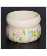 Large Creamy Painted or Fabric Bangle Pink and Blue Flower and Green Vin... - $10.00
