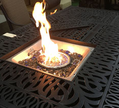 Outdoor propane fire pit table garden fireplace Elisabeth double burner dining image 5