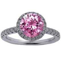 Womens 5.18CT Round Cut Pink & Diamond Halo Engagement Ring 18K Solid Wh... - $2,410.78