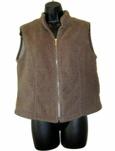 Talbots Fleece Vest Zipper Brown Womens Size PM Petites - $9.88