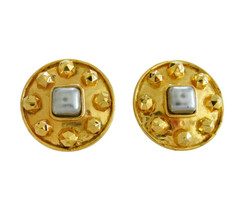 Huge Dominique Aurientis Paris Gold Tone & Gray Faux Pearl Earring Clips - $185.00