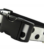 Candy Dot: Black on White Grosgrain Adjustable Dog Collar / Made in Japan - $29.00