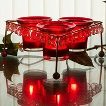 CRYSTAL TRI VOTIVE STAND (WITH 3 VOTIVE)HAND CUT INDIAN DECORATIVE WEDDI... - $37.24