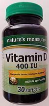 Nature's Measure Vitamin D 400 IU 30 softgels - $7.81