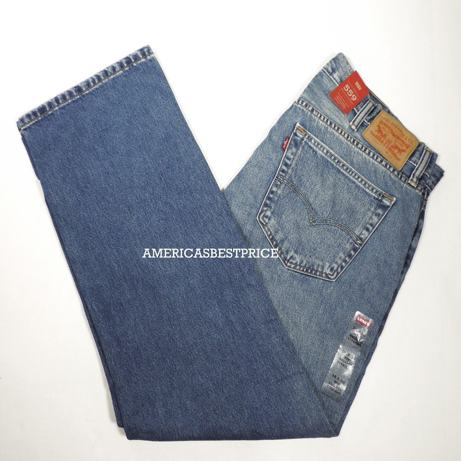 Primary image for LEVI'S 559 NEW MEN'S JEANS RELAXED STRAIGHT NWT SIT BELOW WAIST BLUE SIZE 38 42