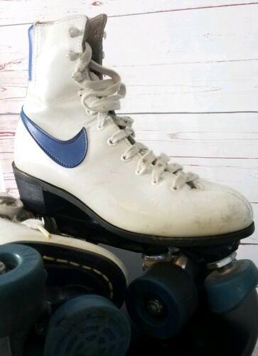 NIKE VINTAGE 70s 80s ROLLER SKATES White Leather Retro BLUE SWOOSH Rink Derby